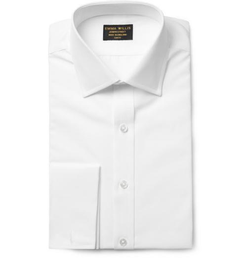 White Double-Cuff Cotton Shirt by Emma Willis in The November Man