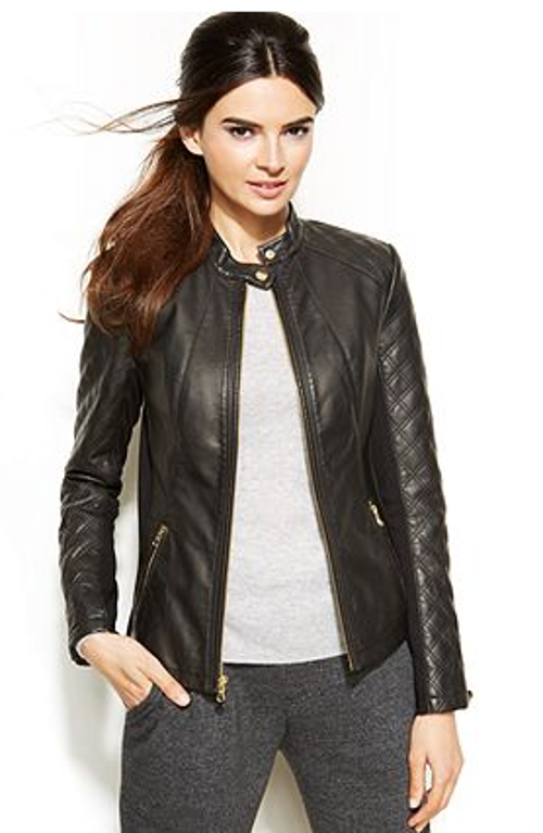 Quilted Faux-Leather Moto Jacket by INC International Concepts in Ride Along