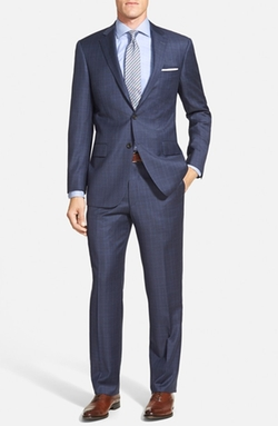 New York Classic Fit Plaid Wool Suit by Hart Schaffner Marx in Arrow
