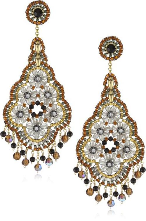 Onyx and Swarovski Cluster Dangle Earrings by Miguel Ases in Hercules
