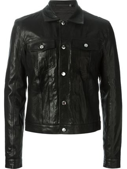 Buttoned Leather Jacket by BLK DNM in Regression