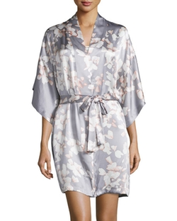 Floral-Print Wrap Robe by Natori Azalea in Mistresses