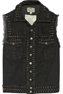 The Sleeveless Snap Stretch-denim Vest by Current/Elliott in Ouija