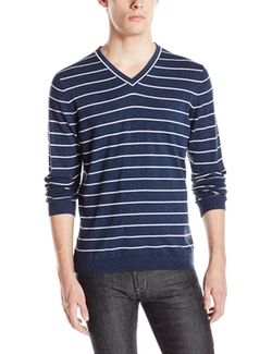 Cyril Stripe V-Neck Sweater by Boss Hugo Boss in Silicon Valley