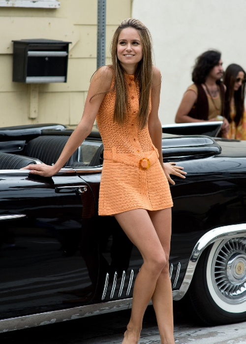 Selected By Mark Bridges (Costume Designer) by Vintage Orange Mini Crochet Dress in Inherent Vice