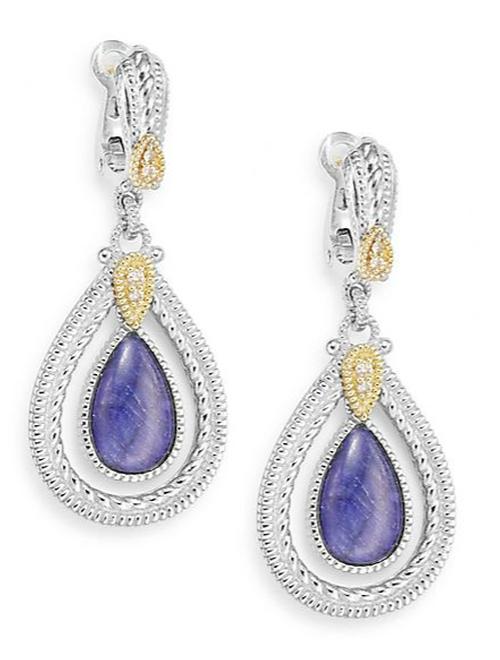 Sapphire Yellow Gold & Sterling Silver Teardrop Earrings by Judith Ripka in Scarface