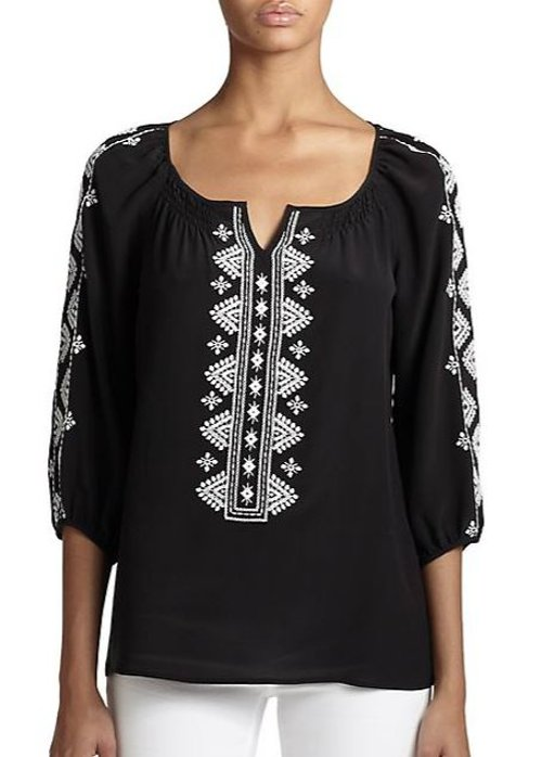 Silk Rhumba Blouse by Nanette Lepore in Black or White