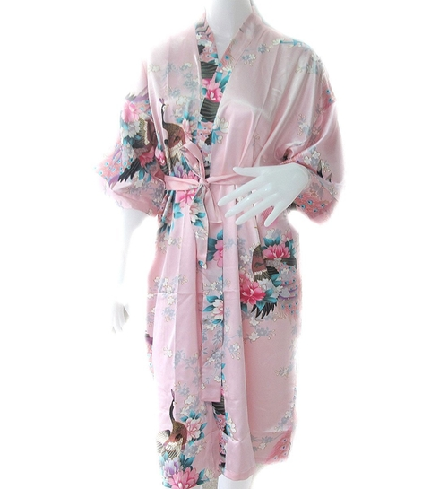 Peacock Satin Silk Robe by Oriental Village Silk Collection in Trainwreck