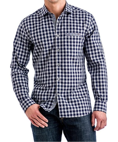 Navy & Gray Checkered Sport Shirt by Stone Rose in Begin Again