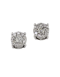 White Gold Stud Earrings by Effy in Suits