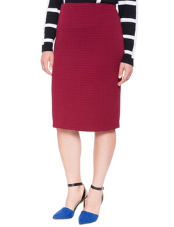 Ottoman Texture Midi Pencil Skirt by Eloquii in Scream Queens