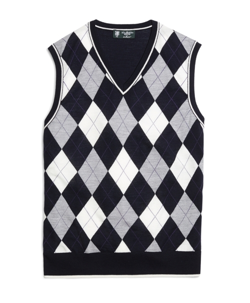 Wool Tipped Argyle Vest by Country Club Saxxon in John Wick