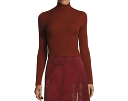 Elisa Cropped Ribbed Turtleneck Sweater by A.L.C. in Atomic Blonde