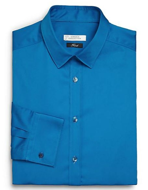 Solid Cotton Dress Shirt by Versace Collection in Survivor