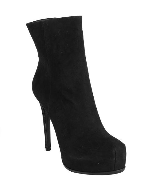 Black Suede 'Bardot' Platform Ankle Boots by Pour La Victoire in Addicted