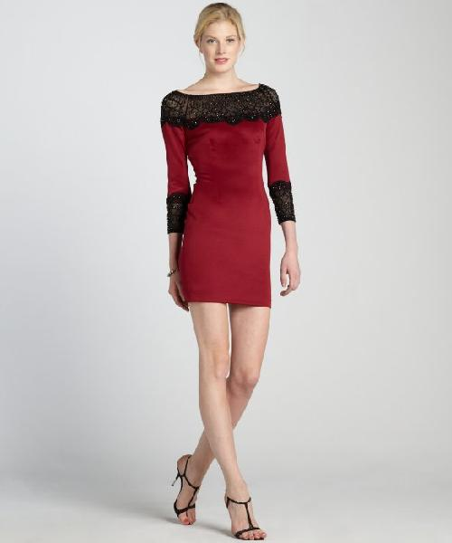 Burgundy And Black Jersey Knit Scalloped Beaded Trim Long Sleeve Dress by HAYDEN in Vampire Academy