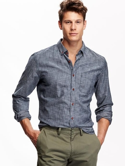 Slim-Fit Chambray Shirt by Old Navy in The Vampire Diaries