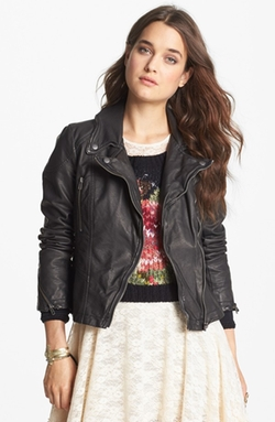 Distressed Faux Leather Moto Jacket by Free People in Pretty Little Liars