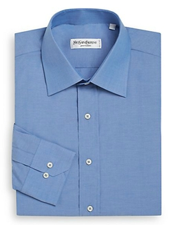 Regular-Fit Solid Cotton Dress Shirt by Yves Saint Laurent in Cabin in the Woods