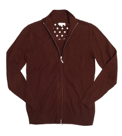 Banded Collar Zip Cardigan by Marco Pecci in Thor