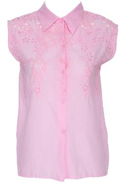 Floral Hollow-Out Pink Sleeveless Shirt by Romwe in No Strings Attached