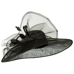 Fancy Bow & Feather Sinamay Hat by SS/Hat in Crimson Peak