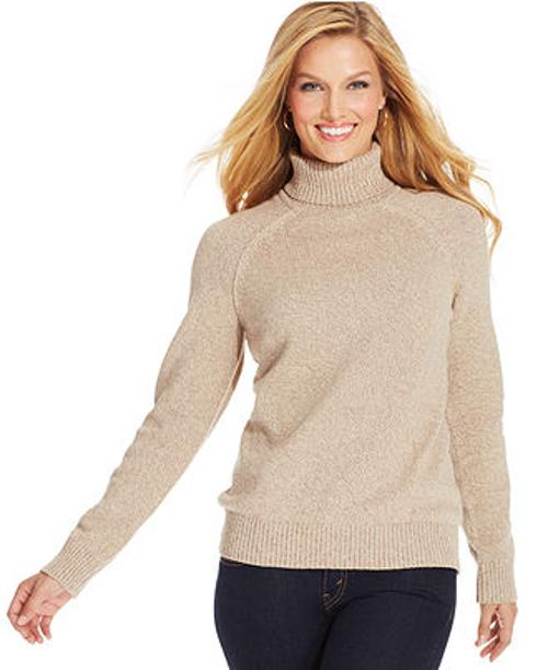 Petite Marled-Knit Turtleneck Sweater by Karen Scott in Prisoners
