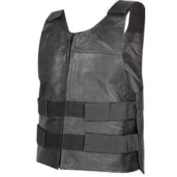 Men's Bulletproof Style Tactical Street Cowhide Leather Vest by Xelement in Let's Be Cops
