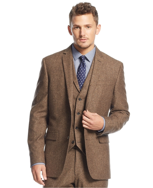 Carnaby Collection Slim-Fit Brown Tweed Herringbone Jacket by Bar III in Bridge of Spies