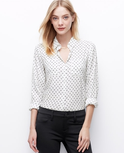 Bow Print Crepe Button Down Shirt by Ann Taylor in Supergirl