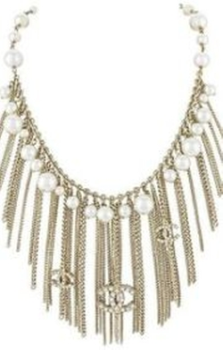 Glass Pearl Metal Fringe Necklace Belt by Chanel in Scream Queens