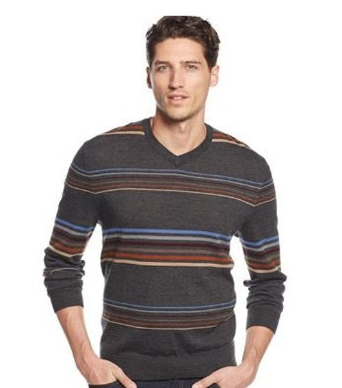 Striped V-Neck Sweater by Club Room in Drive
