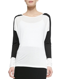 Long-Sleeve Colorblock Slub Tee by Vince in Clueless