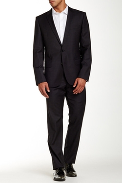 Alim Himenshm Two Button Notch Lapel Wool Suit by Hugo Boss in Suits