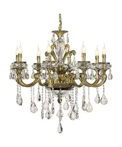 Antique Brass 8 Light Crystal Chandelier by Trans Globe Lighting in That Awkward Moment