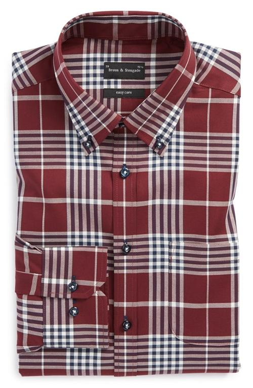 Trim Fit Easy Care Plaid Twill Dress Shirt by Bruun & Stengade in Need for Speed