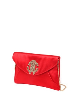 Red Silk Satin Clutch Bag With Logo by Roberto Cavalli in Empire