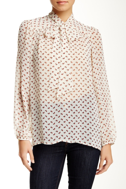 Long Sleeve Tie Neck Woven Blouse by Harlowe & Graham in Pretty Little Liars - Season 7 Episode 1