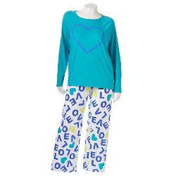 Printed Knit Set Pajama by SO Pajamas in Wild