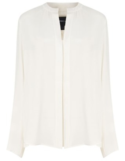 White Silk Nehru Collar Blouse by Derek Lam in Billions