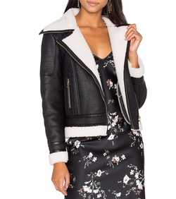 Wool & Leather Jacket With Faux Sherpa by Glamorous in Gypsy