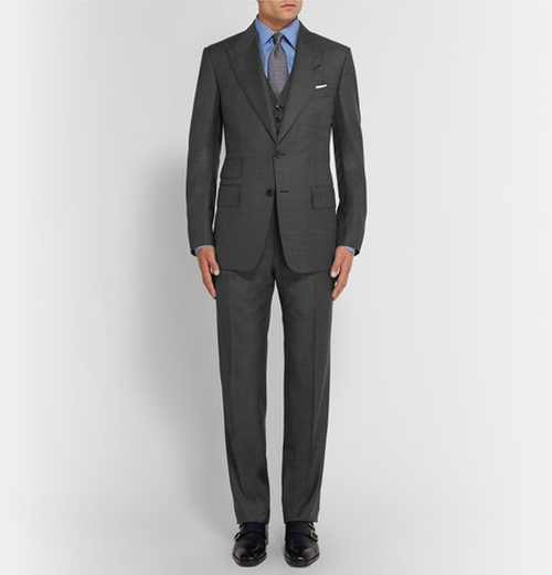 Slim-Fit Sharkskin Wool Three-Piece Suit by Tom Ford in The Blacklist - Season 3 Episode 16