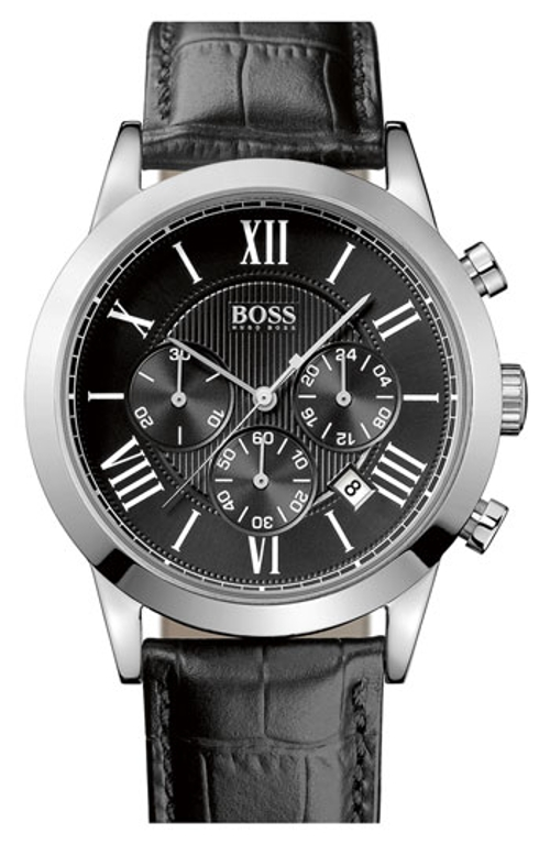 Leather Strap Round Chronograph Watch by Boss Hugo Boss in The Second Best Exotic Marigold Hotel