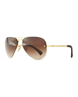 Semi-Rimless Aviator Sunglasses by Ray-Ban in Triple 9