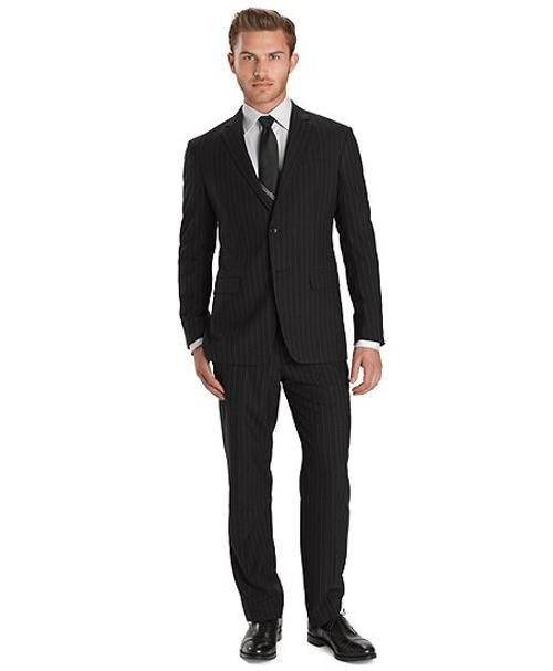 Plain Weave Chalk Stripe 1818 Suit by Milano Fit in John Wick