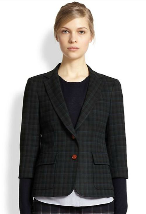 Plaid Two-Button Schoolboy Blazer by Band of Outsiders in Little Fockers