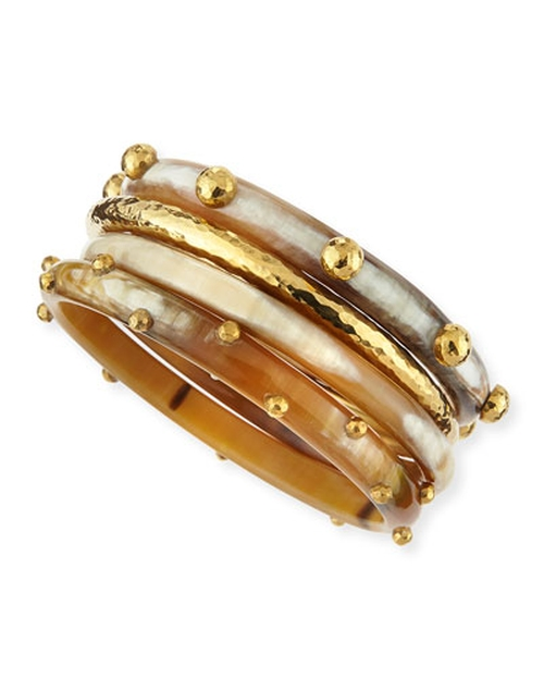 Kamata Horn & Bronze Bangles Bracelet by Ashley Pittman in Bridesmaids
