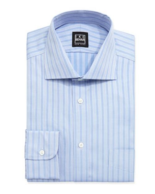 Long-Sleeve Striped Poplin Dress Shirt by Ike Behar in No Strings Attached