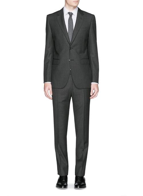 Notch Lapel Wool Crosshatch Suit by Lanvin in Barbershop: The Next Cut