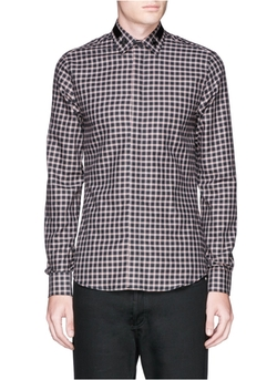 Star Stripe Collar Check Flannel Shirt by Givenchy in Empire